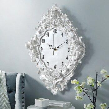유럽 천사 벽시계 수지 장미 꽃과 시계 클래식 스타일 거실 침실 음소거 큐피드 수지 천사 시계 선물