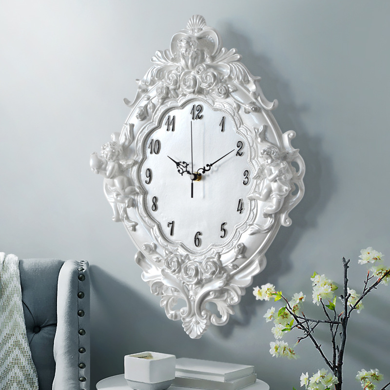 European angel wall clock Resin Rose Flower and watches Classic For style living room bedroom mute Cupid resin angel clock gift