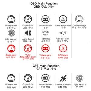Image 5 - Автомобильное универсальное двойное Автомобильное зарядное Системы HUD Дисплей OBD II/GPS Интерфейс автомобиля Скорость миль в час) или км/ч и двигателя (об/мин) над Скорость Предупреждение пройденное расстояние в милях