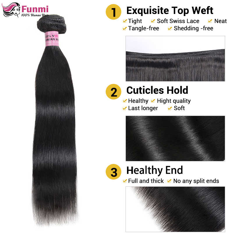 Satın Düz Saç Demetleri Ücretsiz Kapatma 1/3/4 Malezya Saç Demetleri ile Ücretsiz Kapatma Funmi Düz işlenmemiş insan saçı Atkı