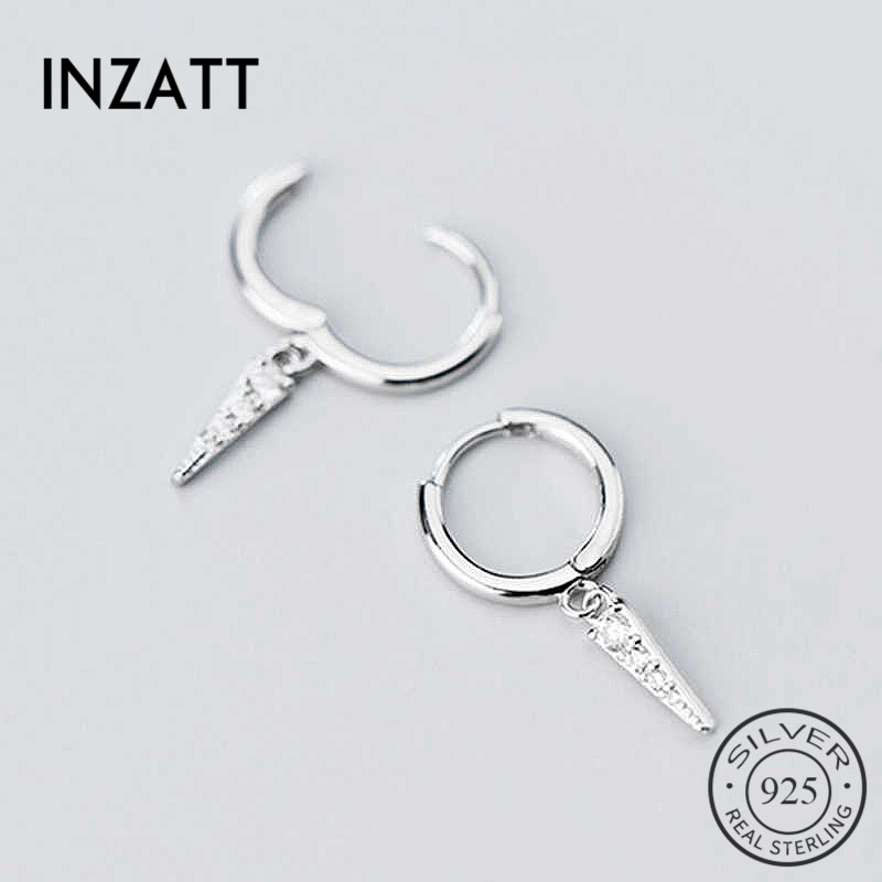 INZATT Real 925 Sterling Silver Zircon Round Geometry Hoop Earrings For Fashion Women Party Fine Jewelry Minimalist Accessories