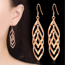 Long Drop earrings For Women Spiral Earrings Rose Gold Silver Color Fashion Jewelry Brithday Friendship Gift Dropshipping long water drop gold silver earrings 2019 party color leaf stud earrings wedding engagement delica friendship jewelry pendientes