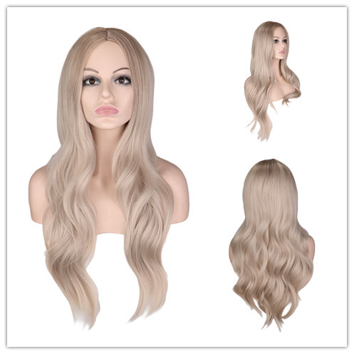 Mega Deal 4530 Qqxcaiw Long Wavy Wig For African American Platinum Blonde Hair Middle Part Heat Resistant Synthetic Hair Wigs Cosplay Party Cicig Co