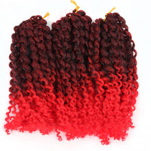 Pageup Crochet Hair Afro Kinky Twist For Women 1B/Red 8 Inches Synthetic Extensions 3Pcs/Pack 60Strands Braiding