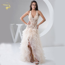 Wedding Dresses Illusion V Neck Spaghetti Straps Champagne Robe De Soiree Sexy Short Front Long Back Prom Gown Vestido Festa