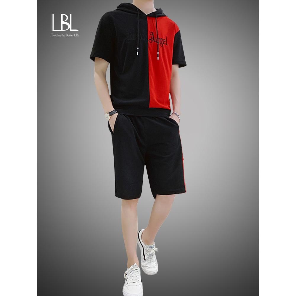 2020 Summer Mens Hooded Set Student Wear New Casual Patchwork Print T-Shirt + Shorts Harajuku 2 PCS Street Fashion Set Tracksuit