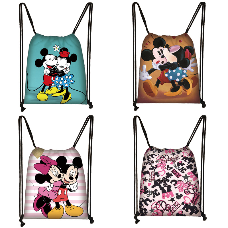 Mickey Minnie Print Drawstring Bag Women Travel Bag Teenager School Bag Brown Girl And Boy Backpack Fashion Female Storage Bags