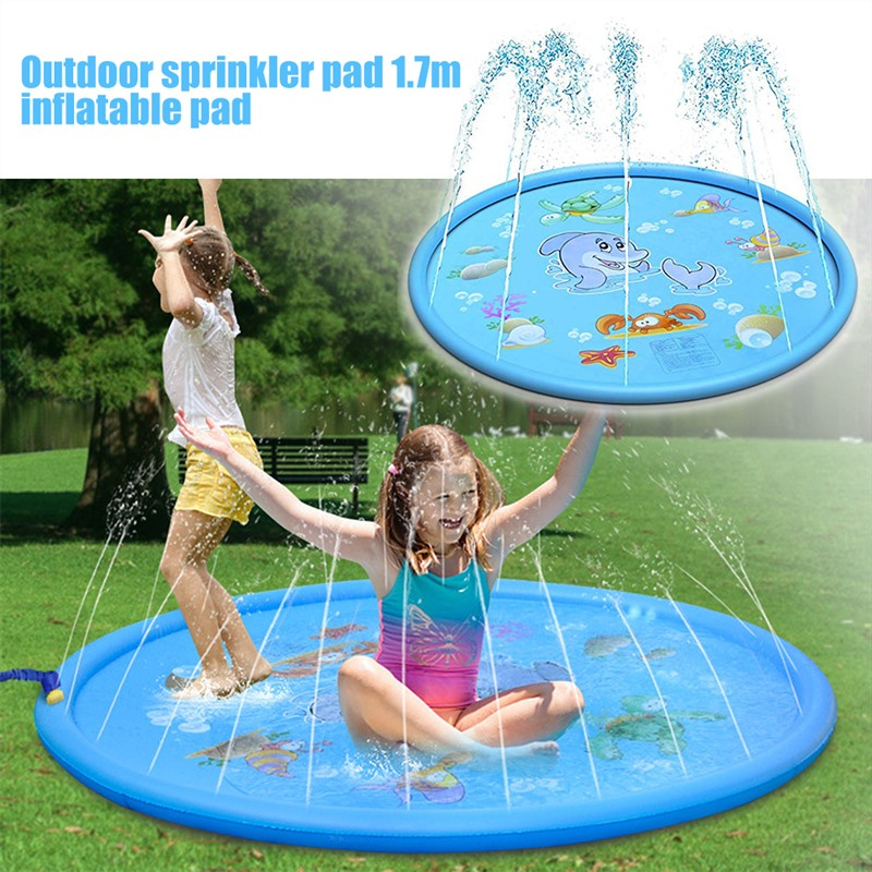 170cm Summer Children's Outdoor Play Water Spray Games Beach Mat Lawn Inflatable Sprinkler Cushion Toys Cushion Gift Kids Baby 1