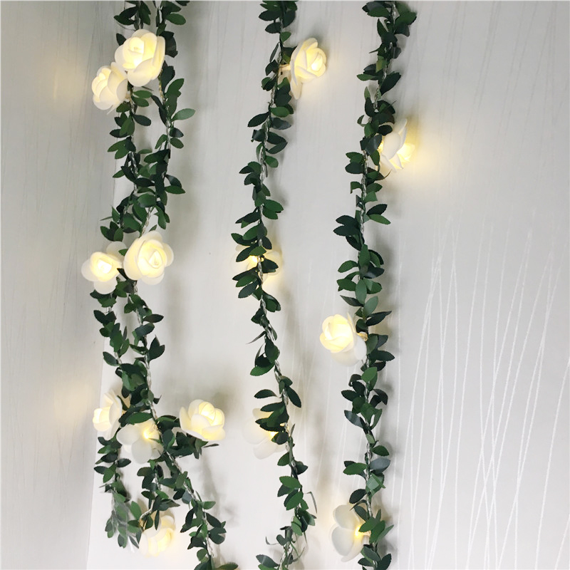 6M 3M Ivy Vine Wedding String Light Rose Flower Round Ball Lights AA Battery Power Flexible Lighting For Wedding Xmas Decoration