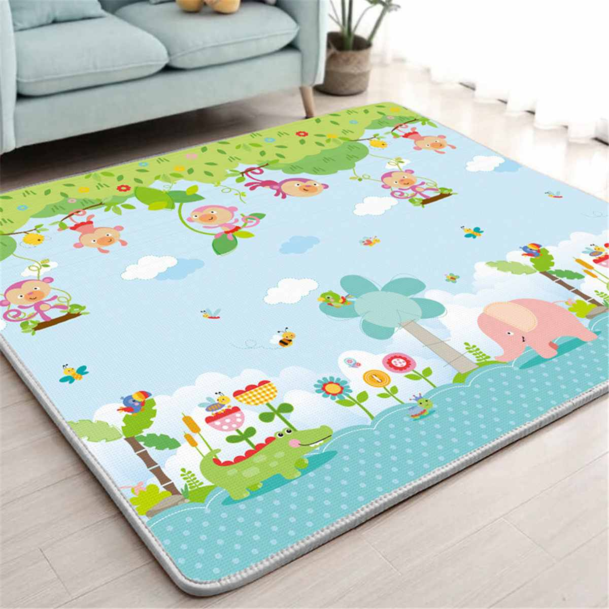 Baby Climbing Play Mat 200x180cm Foldable Children Mat Thickened Nursery Room Crawling Pad Game Blanket Baby Carpet Waterproof