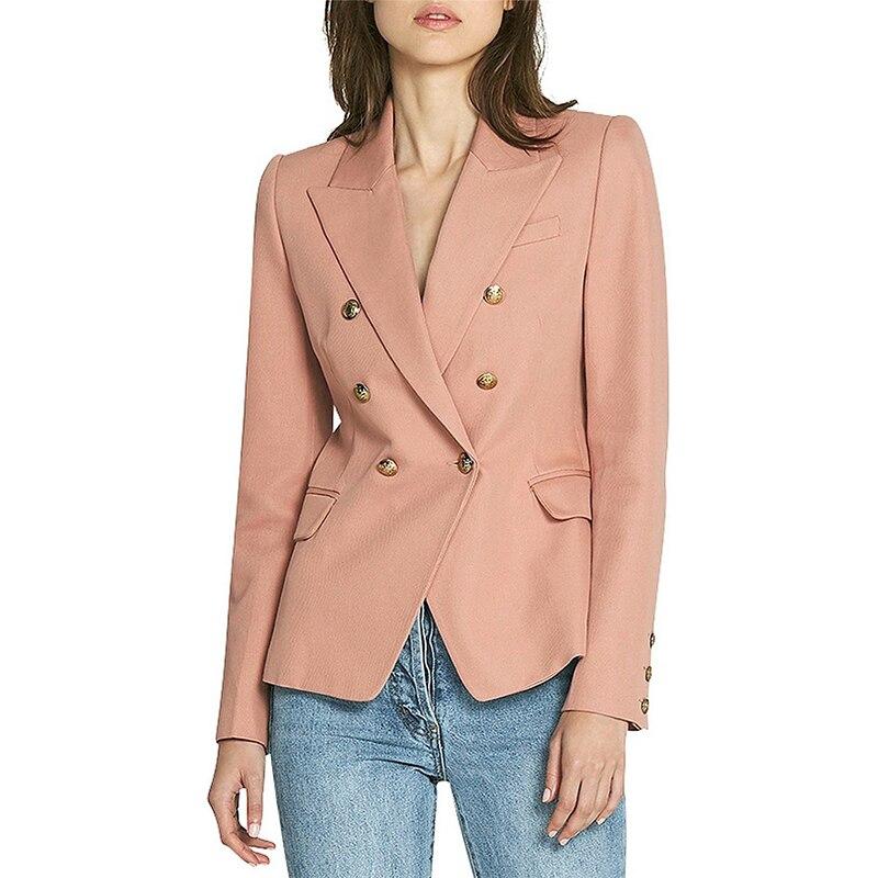 High Quality New Design Brown Khaki Blazer Jacket Gold Double Breasted Button Thick Fabric Office Ladies Women Blazer Feminino