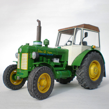 Zetor 50 Super Tractor 1:32 Czech Folding Cutting Mini 3D Paper Model Papercraft DIY Adult Handmade Craft Toys ZX-047 image