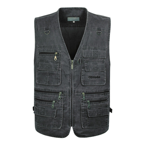 Image 3 - 5XL 6XL 7XL New Male Casual Summer Big Size Cotton Sleeveless Vest With Many 16 Pockets Men Multi Pocket Photograph Waistcoat