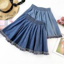 High Waist Denim A-line Skirt Summer New Fashion Trend Tassel Decoration Solid Women's Casual Above Knee, Mini Female Skirt цена и фото