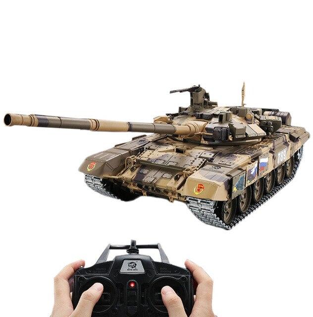 Tanque de batalla principal T90 de 2,4G con Control remoto, tanque con sonido y efecto de disparo de humo, Metal, edición definitiva, Rusia, 1:16