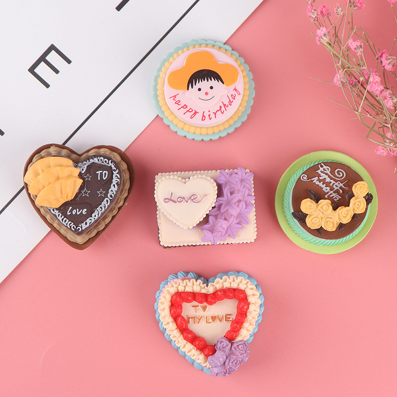 Lover Birthday Cake Model Simulation Food Miniature Figurine Pretend Play Kitchen Toy Dinner Doll House Accessories Kids Gift