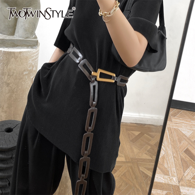 TWOTWINSTYLE Elegant Hollow Out Women Belt Patchwork PU Leather Hit Color Asymmertical Waist Seal Female Novelty 2020 Spring New