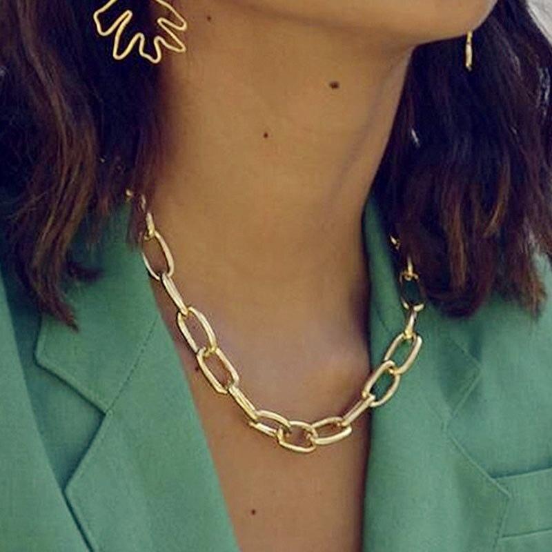 17KM Bijoux Femme Gold Color Choker Necklaces For Women Statement Big Cuban...