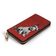 NOISYDESIGNS Women Genuine Leather Wallets Westie Dog Print