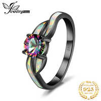 JewelryPalace Fashion Mystic Quartz Created Opal Twisted Shank Ring 925 Sterling Silver gift for girlfriend birthday present