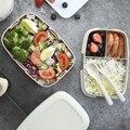 Ланч-бокс Студенческая пшеничная соломенная коробка для ланча съемная для бэнто  в упаковке  для разогревания в микроволновой печи отсек дл...