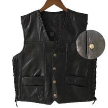 Черный кожаный мотоциклетный жилет для мужчин, Байкерский жилет из натуральной кожи в стиле панк, осенняя куртка без рукавов с кружевными пуговицами для мужчин