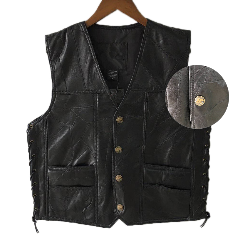 Black Leather Motorcycle Vest For Men Genuine Leather Punk Biker Vest Lace Button Autumn Sleeveless Jacket For Men