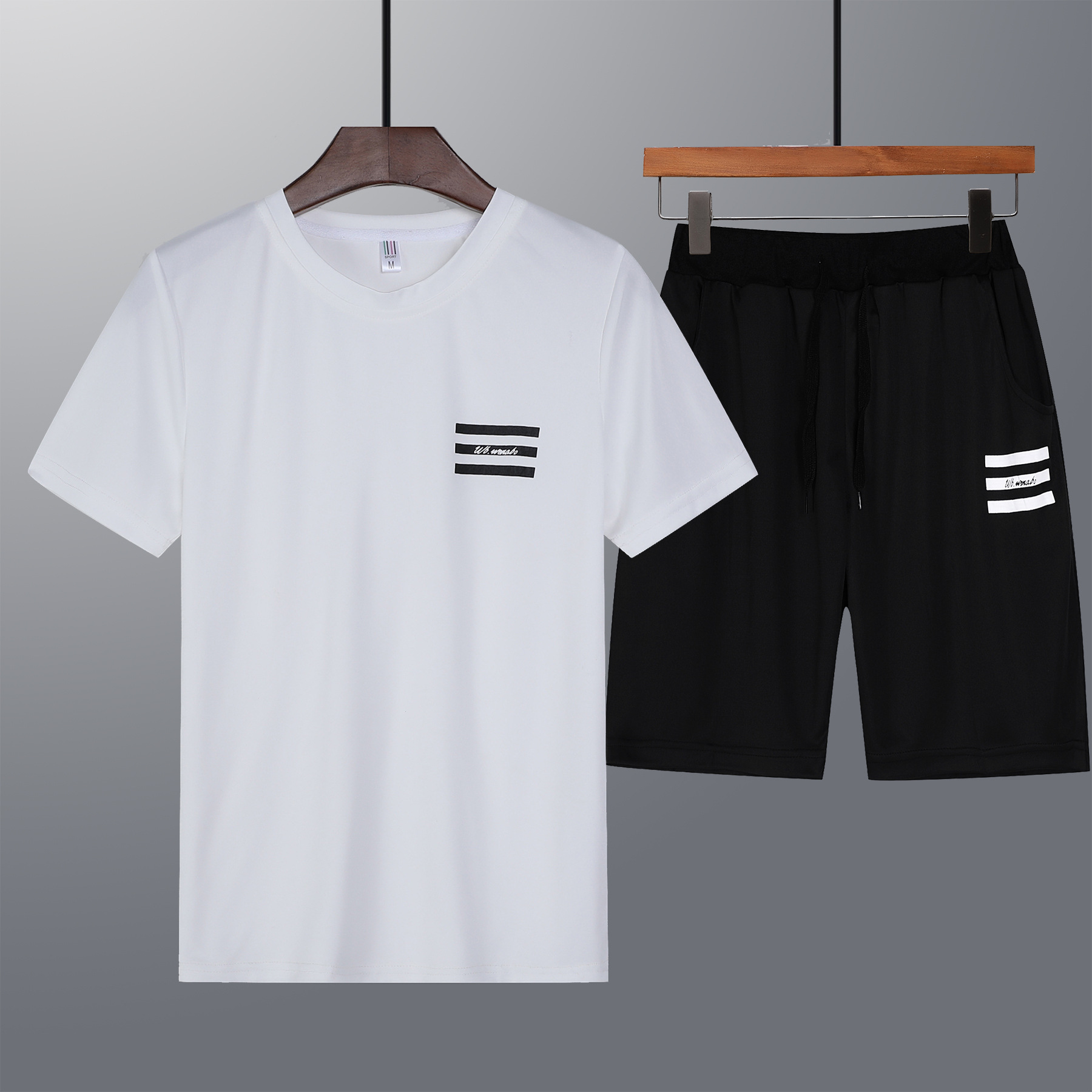 Summer New Style Sports Clothing Men'S Wear Youth Fitness Men Running T-shirt Short Sleeve Shorts Casual Large Size Two-Piece Se