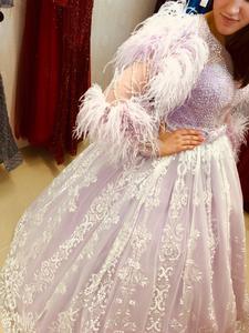 Image 5 - ILUSY จริงภาพ Elegant Glitter ชุดราตรีลูกปัด Feathers Ball ชุดแขนยาวอย่างเป็นทางการชุดราตรี Robe de soire