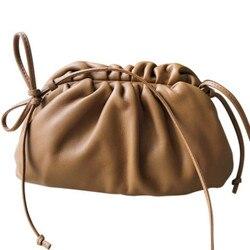 Bolso tipo sobre de cuero auténtico, bolsos de lujo para mujer, bolsos de diseño voluminosos con forma redondeada, bolsos de mano