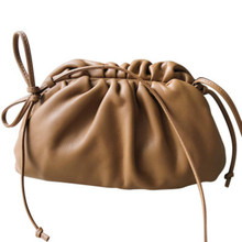 The Pouch Real Leather Envelope Bag Luxury Handbags Women Bags Designer Voluminous Rounded Shape Purses and Handbags Clutches