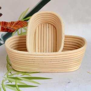 Storage-Box-Accessories Baskets Fermentation Kitchen-Organizer Baking Wooden Rattan Oval