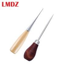 LMDZ 2 قطعة مقبض خشبي Awls لتقوم بها بنفسك الجلود خيمة الخياطة Awl دبوس لكمة ثقب الأحذية إصلاح أداة اليد غرزة الجلود الحرفية إبرة