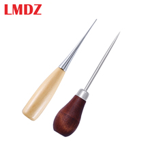 LMDZ 2pcs עץ ידית מרצעים DIY עור אוהל תפירת מרצע פין אגרוף חור נעלי תיקון כלי יד Stitcher עור מלאכת מחט