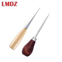 Lmdz 2 個木製ハンドルawls diyキャンバスレザーテント縫製キリピンパンチ穴の靴修理ツール手綴じ革クラフト針