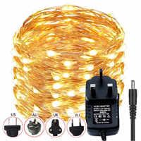 Dc12v 10m 20m led string fairy light 100led 200led prata fio de cobre casamento festa decoração rgb/branco morno/azul adaptador de energia