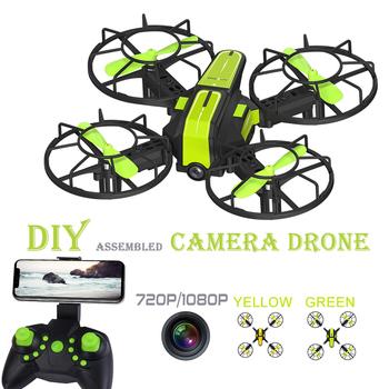 Rc Drone z kamerą HD 1080P 720P WIFI kamera FPV mały Quadcopter helikopter Rc DIY edukacja montaż zabawka dla zawodu Drone tanie i dobre opinie AHOHA Z tworzywa sztucznego 100m 28 * 22 * 6cm Avoid human contact when controlling flying drones Mode2 1mounth Silnik bezszczotkowy