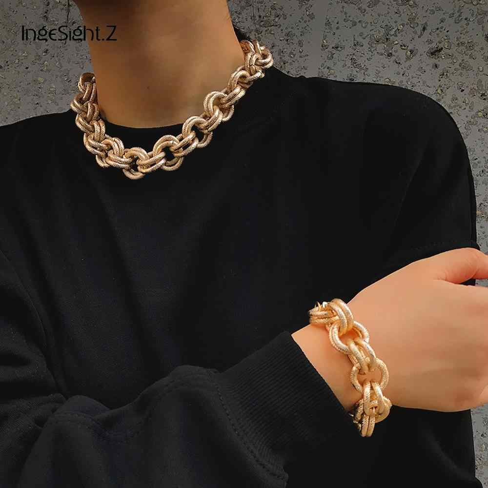 IngeSight.Z Vintage Exaggerated Miami Cuban Choker Necklaces Punk Hip Hop Thick Chunky Heavy Metal Necklace Bracelet Set Jewelry