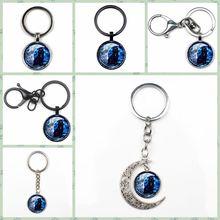 New Retro Dark Cat In The Moon Photo Key Ring Fashion Glass Crystal Pendant Key Ring Man Woman Charm Bag Car Key Gift Souvenir thailand imports genuine gv new moon key pendant