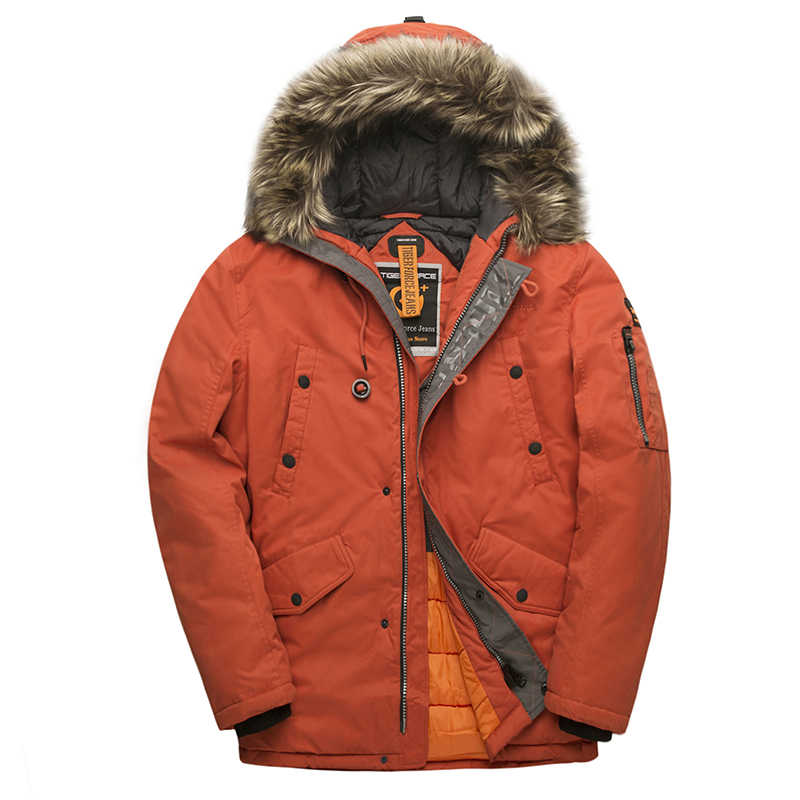 Tijger Kracht Winter Jas Mannen Gewatteerde Parka Rusland Man Winter Jas Kunstmatige Bont Grote Zakken Middellange Lange Dikke Parka snowjacket