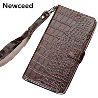 Hand strap genuine leather wallet phone case card slot holder for Apple iPhone 8 Plus/iPhone 8 magnetic book flip case cover