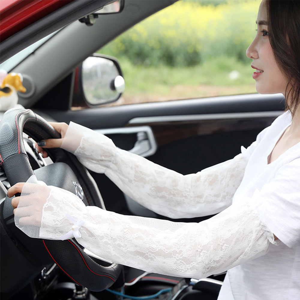 Summer Lace Shade Sunscreen Arm Sleeves Anti-UV Long Sleeves Driving Ice Silk Protective Arm Cover