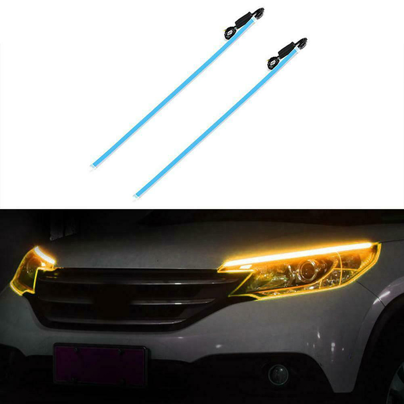 Hight Quality 2pcs Flexible LED Night Daytime Running Light Strip No Disassembling Needed L5 #4