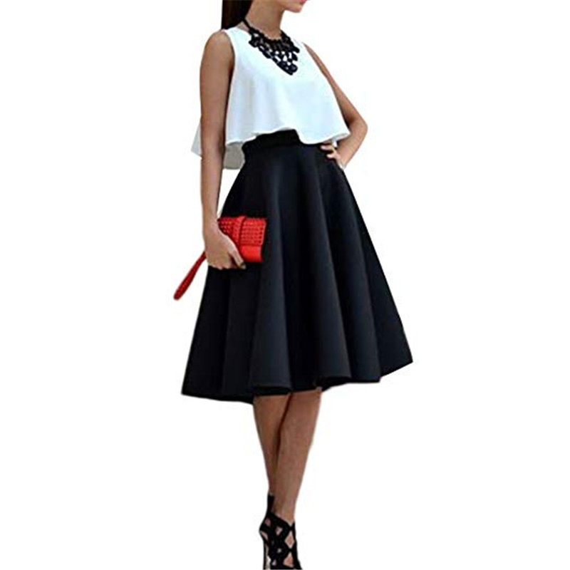 2 Pieces Solid Women Sleeveless Blouse Top And Skirt Vintage Set