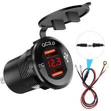 12V/24V Metal Waterproof Dual QC3.0 USB Fast Car Charger Power Outlet Voltmeter