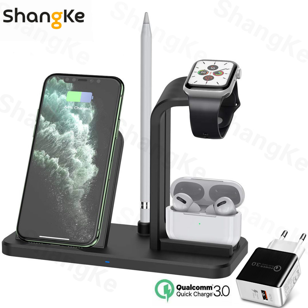 Fast Charging 3 In 1 Qi Wireless Charger for Apple watch 1 2 3 4 5 AirPods Pro For iPhone 11 XS Max XR X 8 Plus Samsung S20 10 9