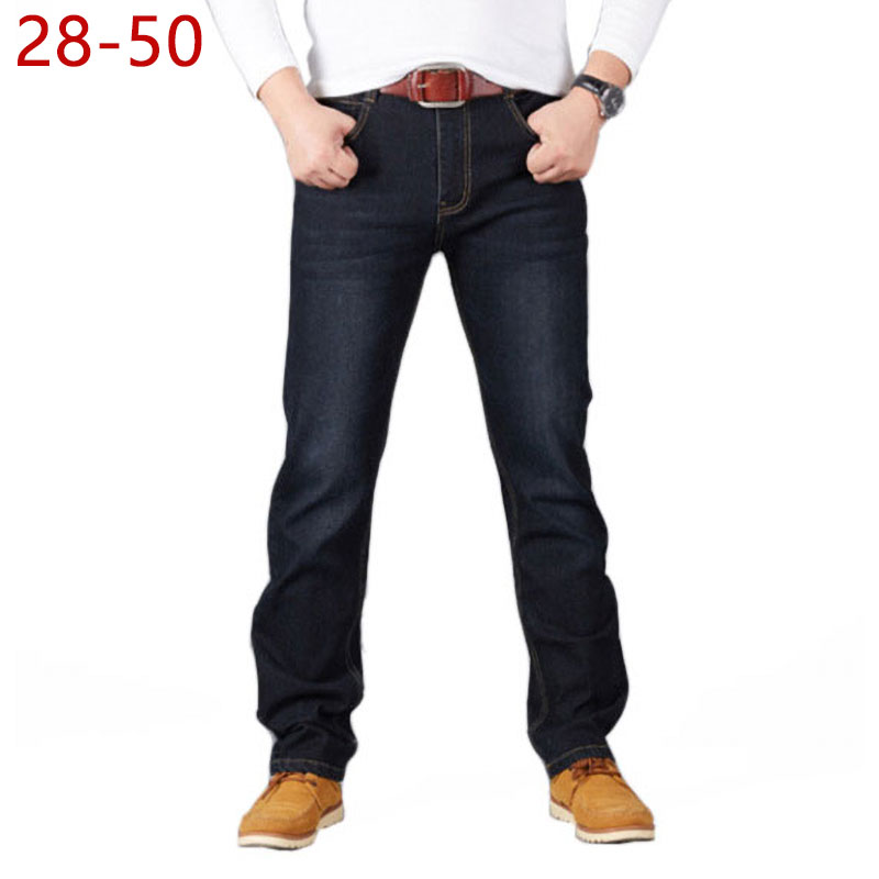 28-50 Big Size Man Pants High Stretch Straight Baggy Trousers Fashion Casual Black Blue Denim Male Business Jeans Classic
