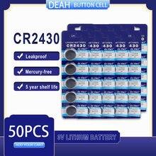 50 PÇS/LOTE CR2430 3V CR Bateria De Lítio 2430 DL2430 BR2430 ECR2430 para Assista Calculadora Computador de Controle Brinquedos Baterias Botão