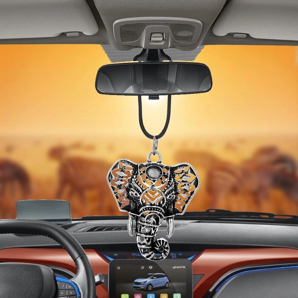 Автомобильный кулон в виде головы слона, украшение для интерьера зеркала заднего вида, подвесной декор, счастливая семья друзей, подарок, ав...