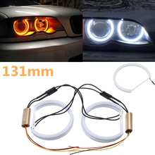 4x131mm Cotton Light Car Angel Eyes Light White+Yellow LED Angel Eye Halo Ring Turn Signals For BMW E36 E38 E39 E46(China)